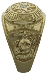 United States Marine Corp ring with Marine Corp emblem and Semper Fidelis ribbon