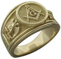 32nd degree Masonic ring with Scottish Rite double eagle and Shrine crescent with scimitar in 10k yellow gold