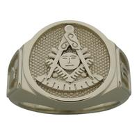 Masonic Past Master ring with plumb & trowel side emblem, shown in 10k white gold