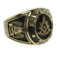 Custom 14k gold collegiate style Masonic Past Master ring with deep black antique finish