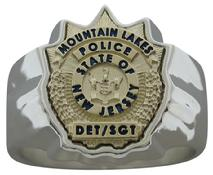 Mountain Lakes NJ Police Detective Sergeant badge ring in yellow gold and sterling silver