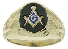 Our #1460-46 oval shaped contemporary Masonic ring with a 10 x 12 mm oval center stone in black, red, or blue with the square & compass and letter G.  Sides of the ring feature an inverted compass enclosing a trowel on one side and a plumb on the other.