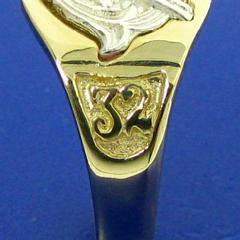 close up of 32nd degree side detail in 14k gold 32nd degree Scottish Rite Mason's ring