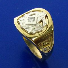Two tone 14k yellow and white gold 32nd degree Scottish Rite Mason's ring with square and compass with the letter G, 32, and Yod