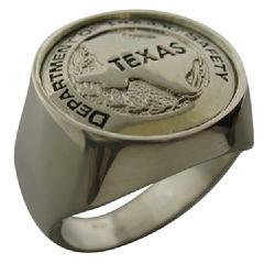 Custom Texas DPS badge ring in sterling silver