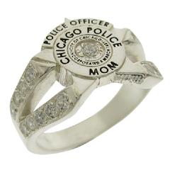 Custom Chicago Police Star ladies split shank with stones, shown in sterling silver