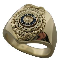 Custom Austintown (OH) Police Detective Sergeant badge ring in 14k yellow gold with blue and black enamel.
