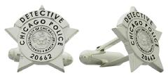 Custom Chicago IL Police Detective star cuff links in sterling silver