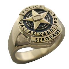 Custom Dallas (TX) Police Sergeant badge ring in 14k yellow gold with blue and black enamel.