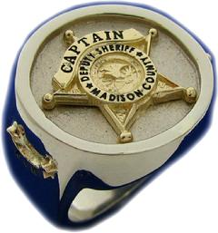 10K YELLOW AND WHITE GOLD SHERIFF'S CAPTAIN BADGE RING