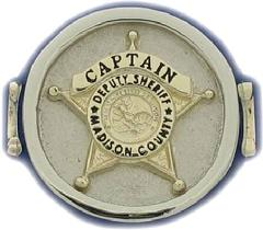 10K YELLOW AND WHITE GOLD MADISON COUNTY (IL) SHERIFF'S CAPTAIN BADGE RING.  AVAILABLE WITH ANY BADGE CENTER