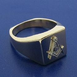 3RD DEGREE MASONIC RING IN 10K YELLOW GOLD WITH 14K WHITE GOLD SQUARE AND COMPASS EMBLEM