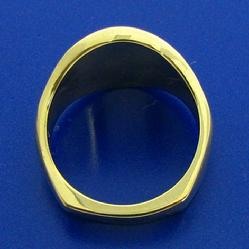 View of 14k gold 32nd degree Scottish Rite Maosn's ring solid under side and heavy squared ring shank