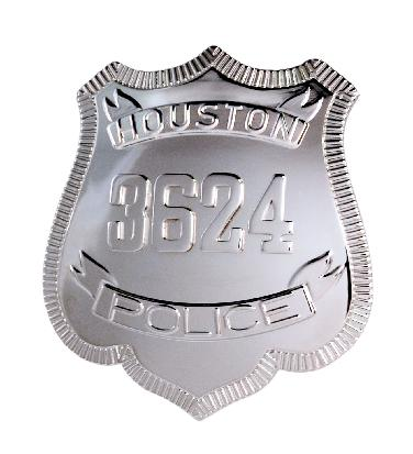 rhodium plate custom Houston Police Officer shield shaped badge with raised ribbons and numbers