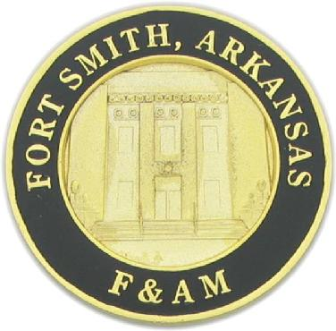 160th anniversary die struck coin for Belle Point Masonic Lodge #20, Fort Smith, Arkansas (reverse)