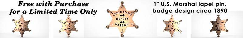 Deputy U.S. Marshal Bass Reeves badge lapel pin